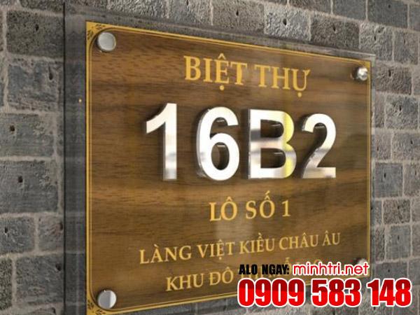 Làm bảng số nhà cho biệt thự cao cấp nhà phố TPHCM