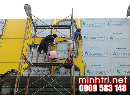Thi công mặt dựng alu, ốp alu cho mặt tiền shop TPHCM - Minh Trí